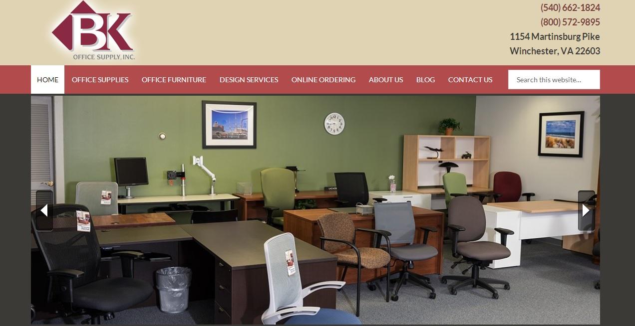 bk office supply wordpress website
