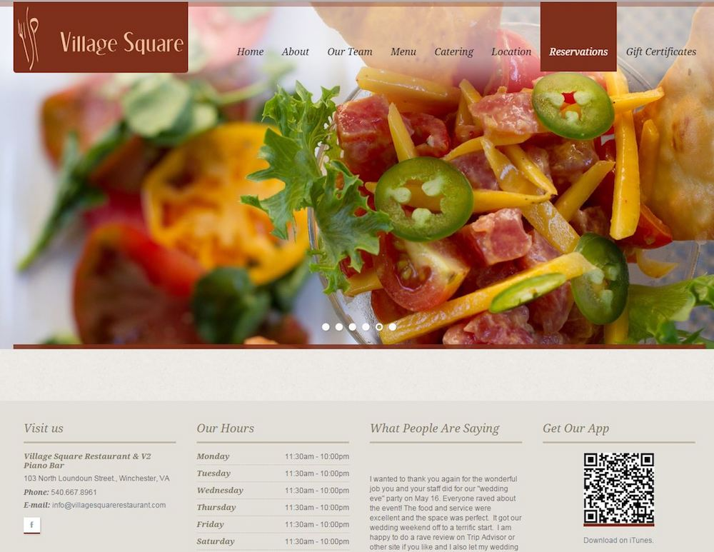 Village Square Restaurant Web Design