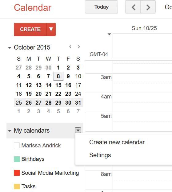 Create a Google Calendar