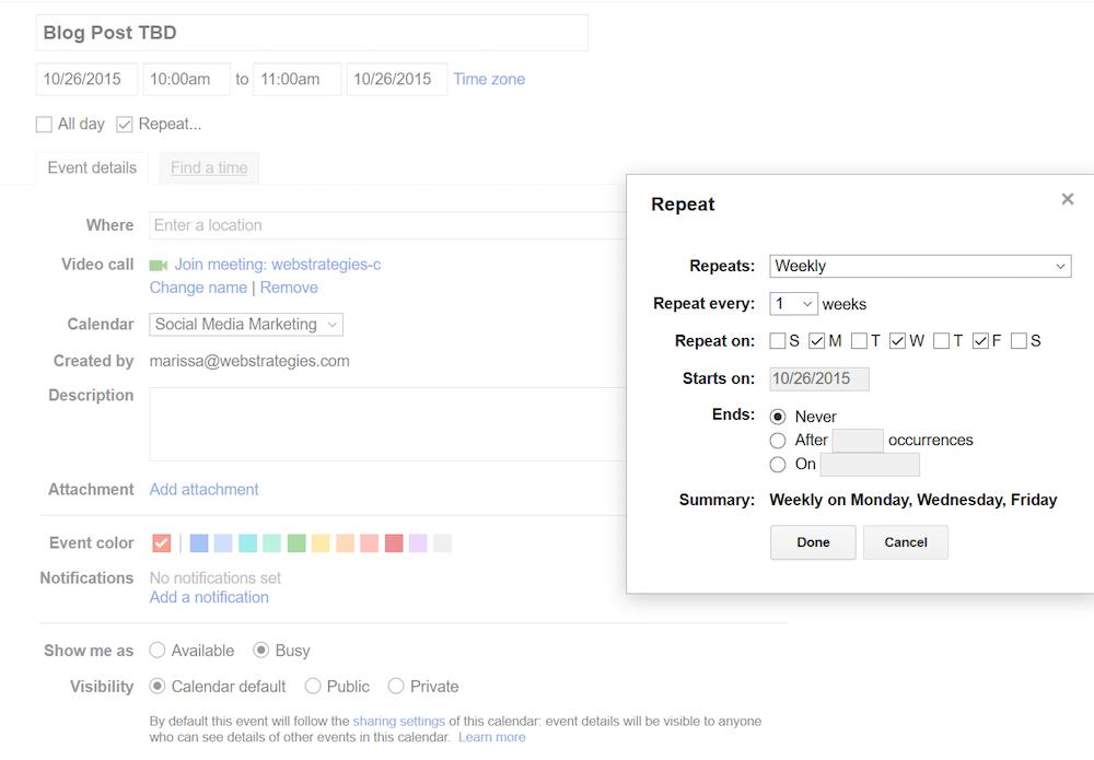 adding a recurring event in google calendar