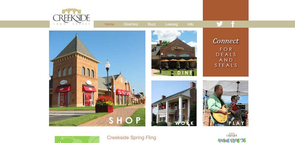Creekside Town Center Website Design