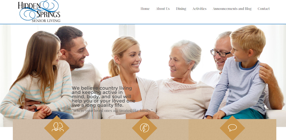 hidden springs senior living website design limeton va