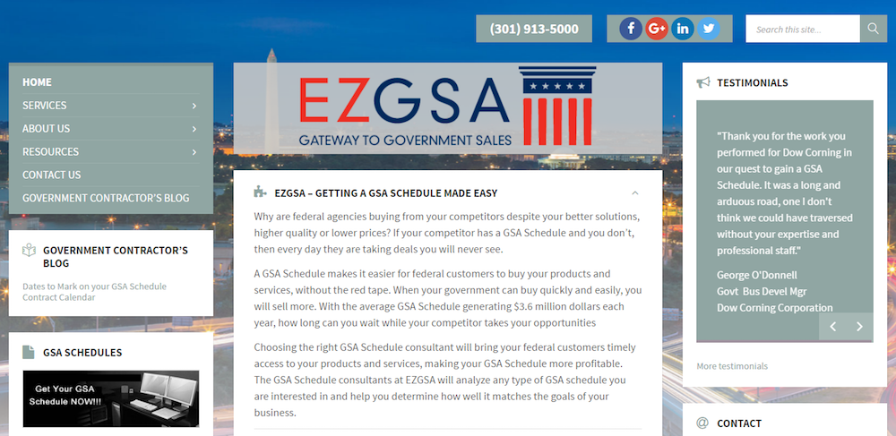 Web Design for Government Contractors EZGSA Government Contractor Website re-theme along with integration of mobile compatibility