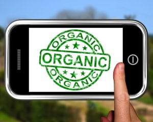 Organic On Smartphone Shows Ecological Products Or Natural Food