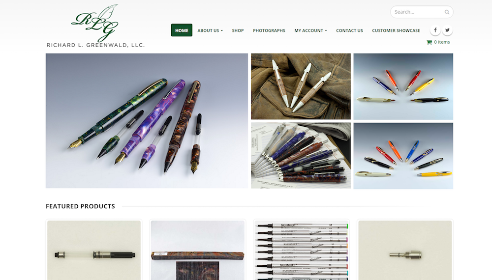 Richard L. Greenwald custom pen-making website redesign