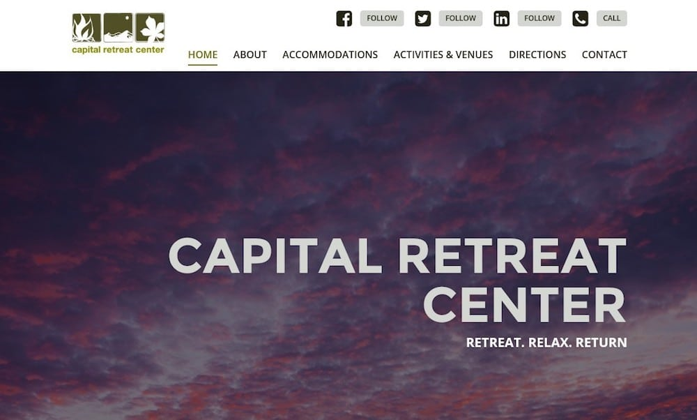 capital retreat center website design