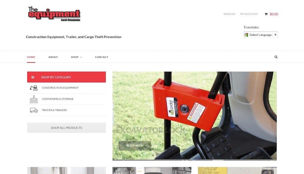 equipment lock website design