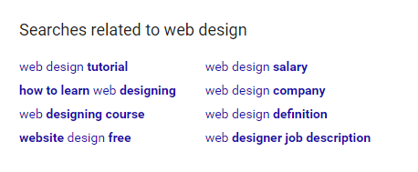 Google's keyword suggestions in the SERPs