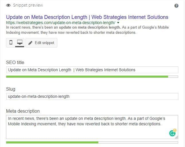 Update on Meta Description Length | Web Strategies Internet
