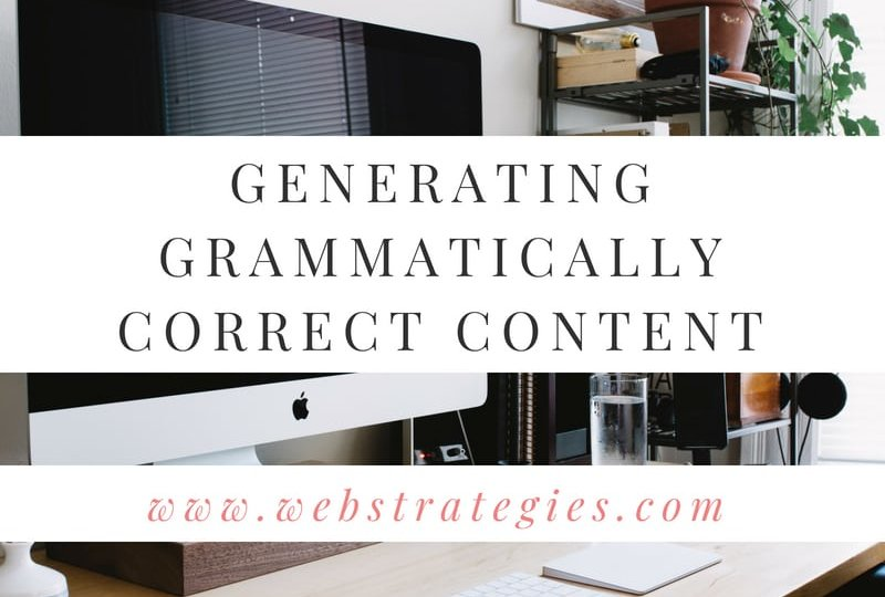 Generating Grammatically correct content