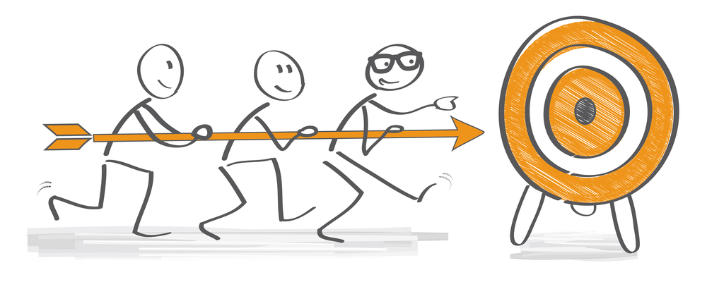Achieving goal concept - Business people holding arrow