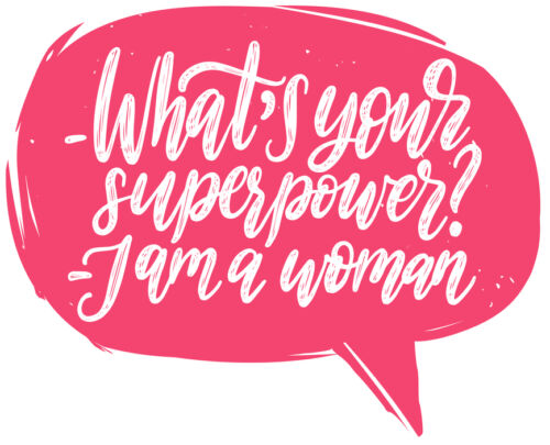 What Is Your Superpower. I Am A Woman hand lettering. International Womens Day poster. Vector calligraphic illustration of feminist movement in speech bubble.